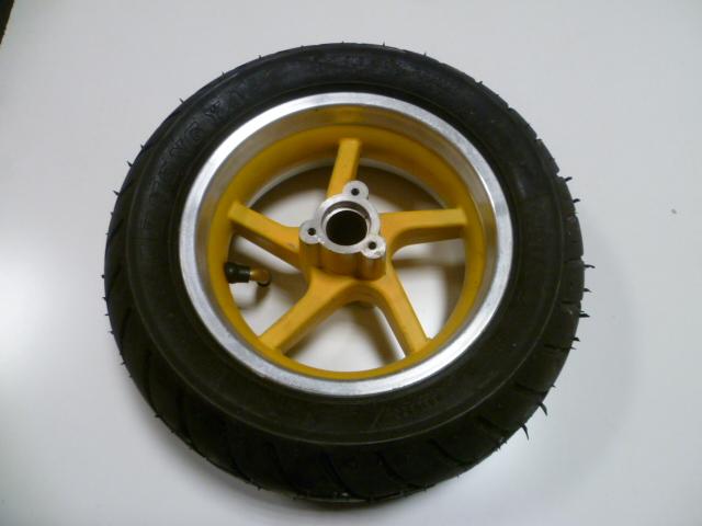 roue avant compl te jante jaune pneu pluie pour pocket bike pocket course pocket piste. Black Bedroom Furniture Sets. Home Design Ideas